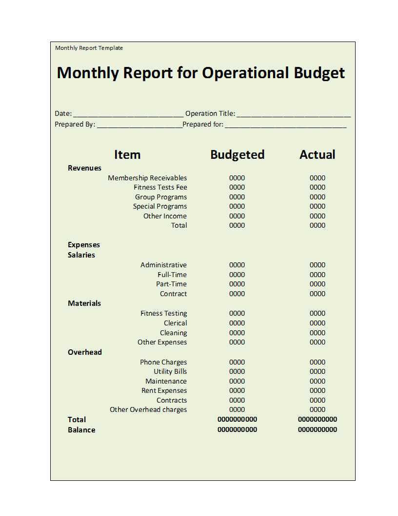 Monthly Report Template In How To Write A Monthly Report Template