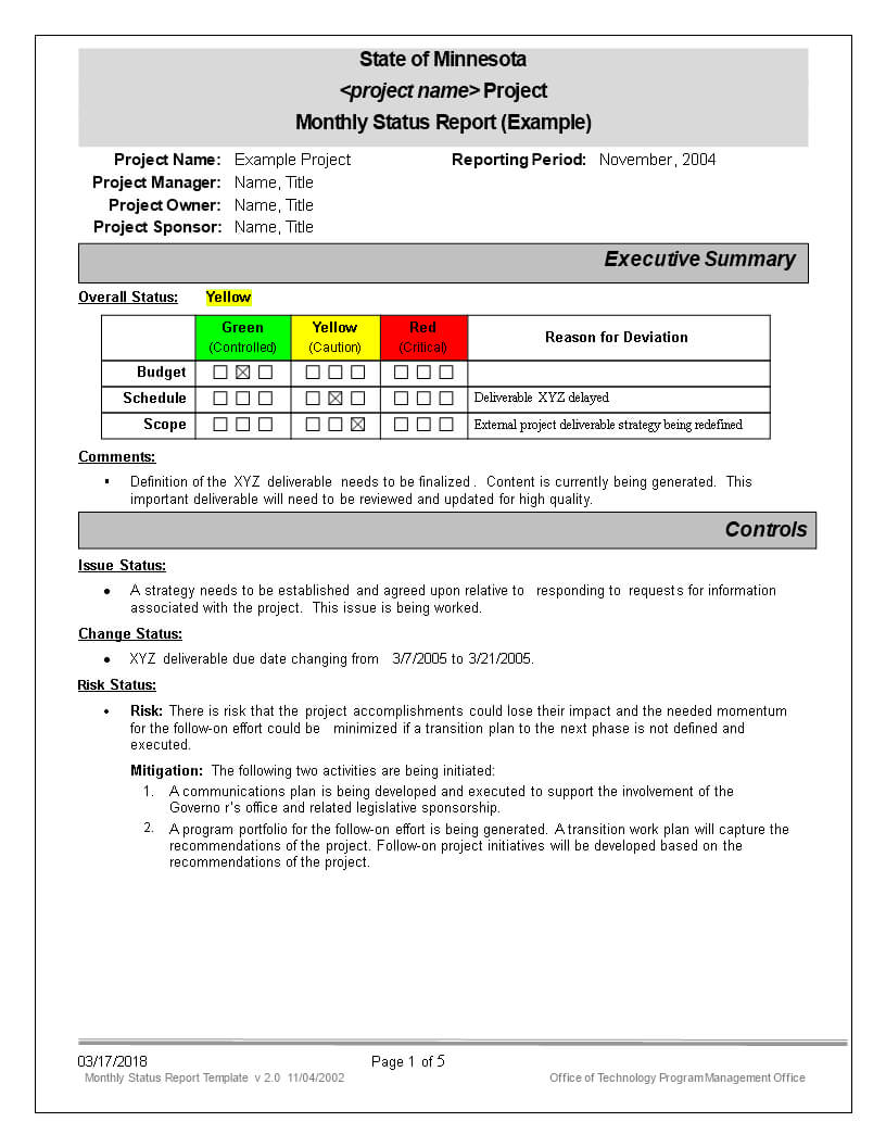 Monthly Status Report | Templates At Allbusinesstemplates Within Monthly Status Report Template Project Management