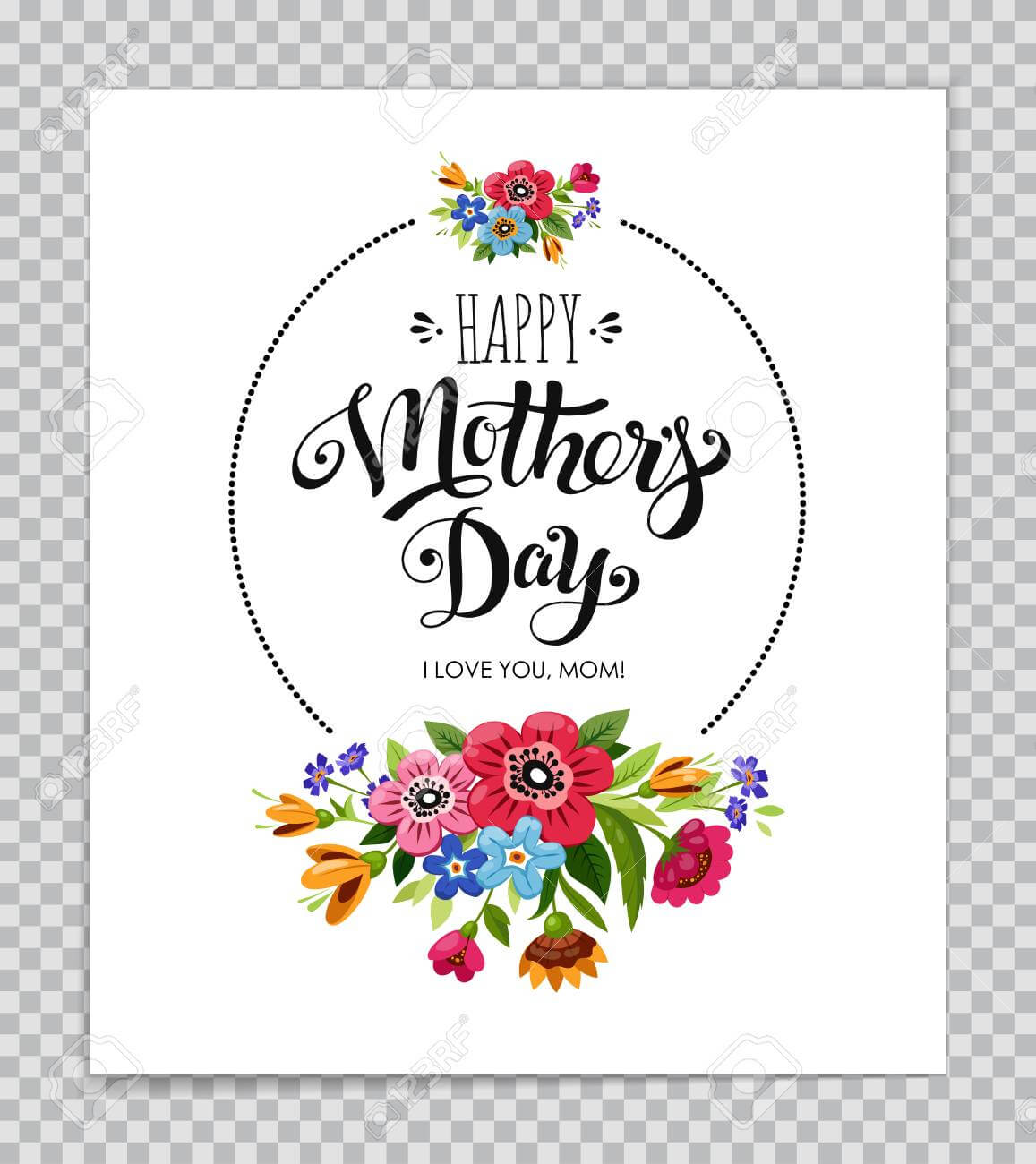 Mothers Day Card Template With Floral Design On Transparent Background. Pertaining To Mothers Day Card Templates