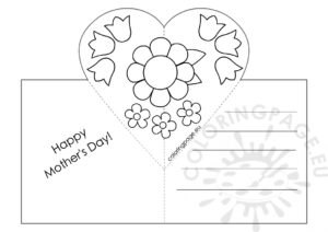 Mothers Day Card With Heart Pop-Up Template – Coloring Page with regard to Mothers Day Card Templates