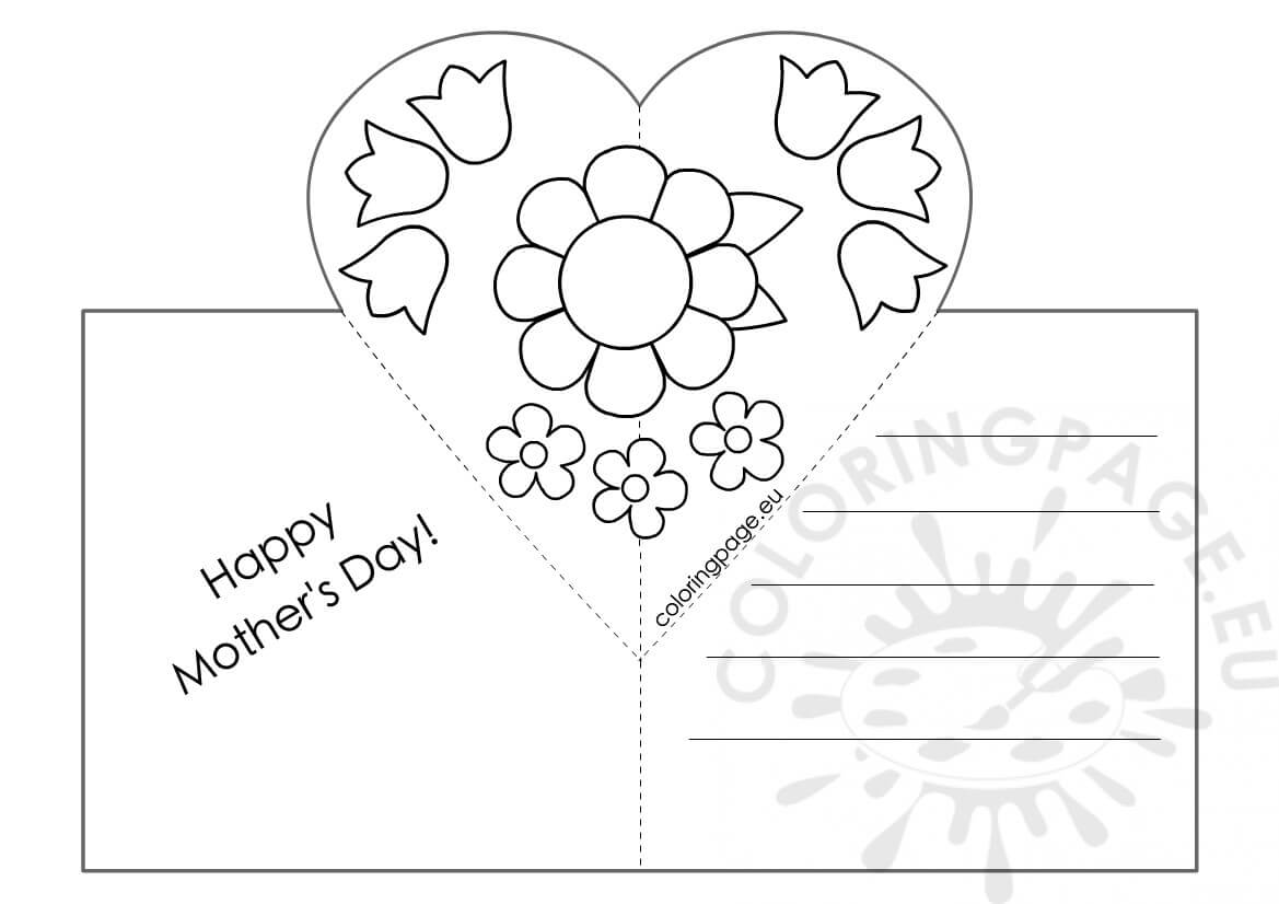 Mothers Day Card With Heart Pop Up Template – Coloring Page With Regard To Mothers Day Card Templates