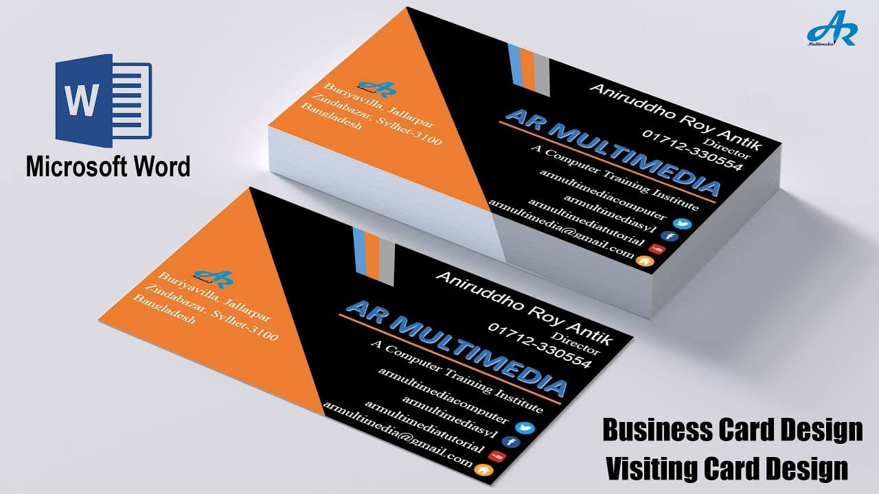 Ms Word Tutorial: How To Create Professional Business Card Design In Ms  Word Biz Card Template 2013 For Word 2013 Business Card Template