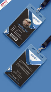 Multipurpose Dark Office Id Card Free Psd Template | Psd for Id Card Design Template Psd Free Download