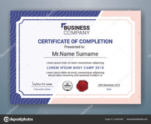 Multipurpose Professional Certificate Template Design Print in Boot Camp Certificate Template