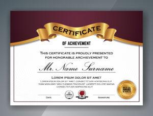 Multipurpose Professional Certificate Template Design with Professional Award Certificate Template