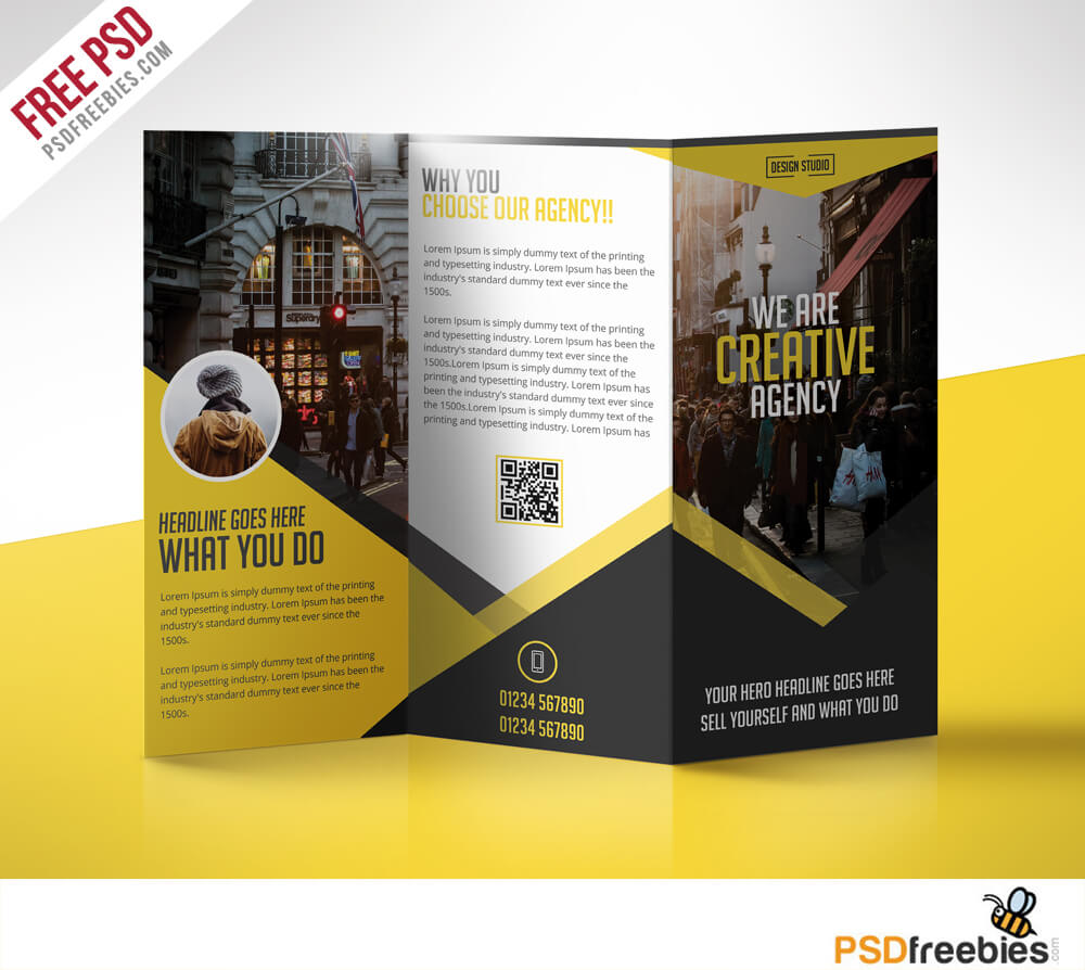 Multipurpose Trifold Business Brochure Free Psd Template for 3 Fold Brochure Template Free
