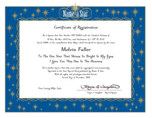 Name A Star Instant Certificate – Buy And Name A Star | Name with regard to Star Naming Certificate Template