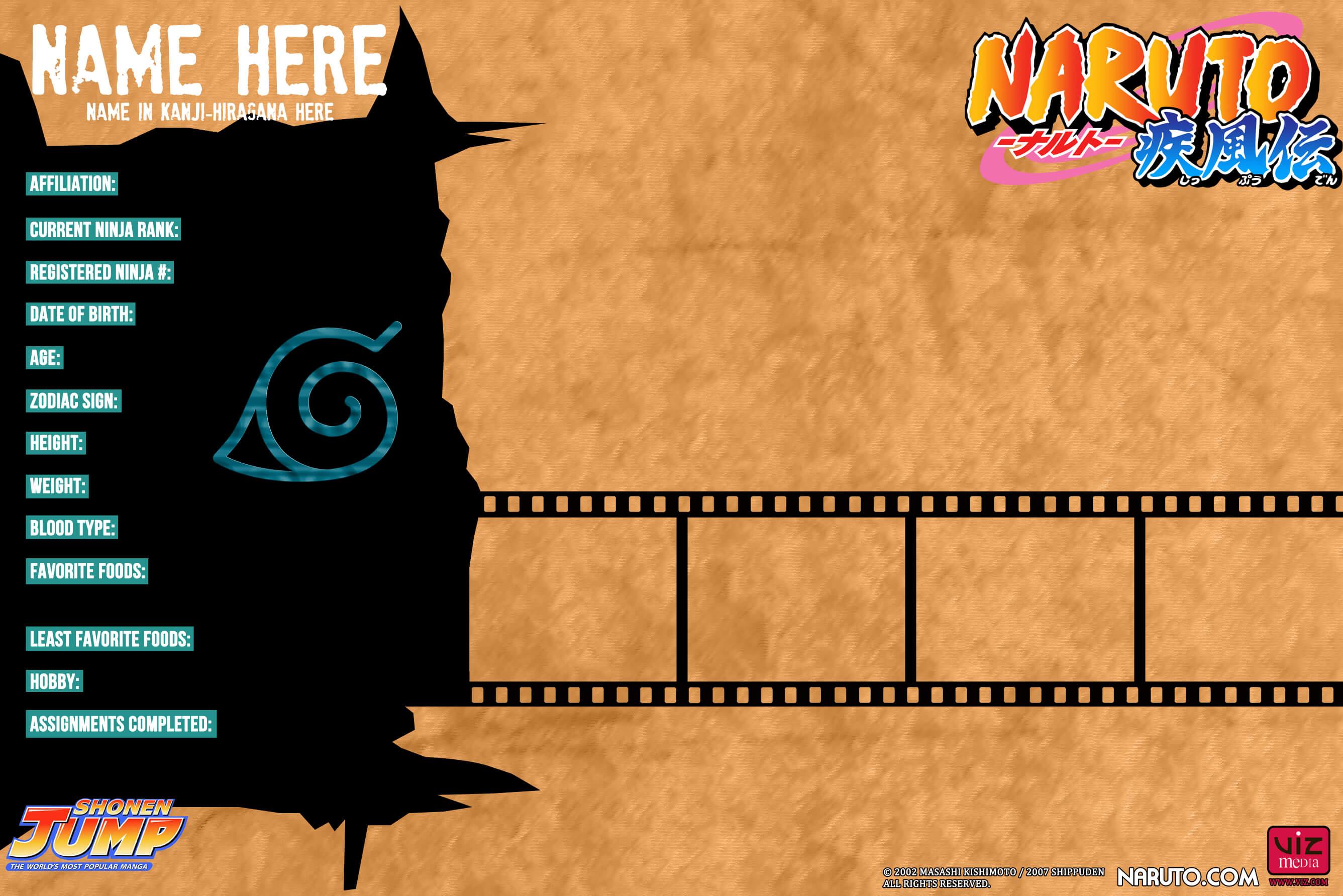 Naruto Shippuden: Bio Card Template*:.dreamchaser21 On Regarding Bio Card Template