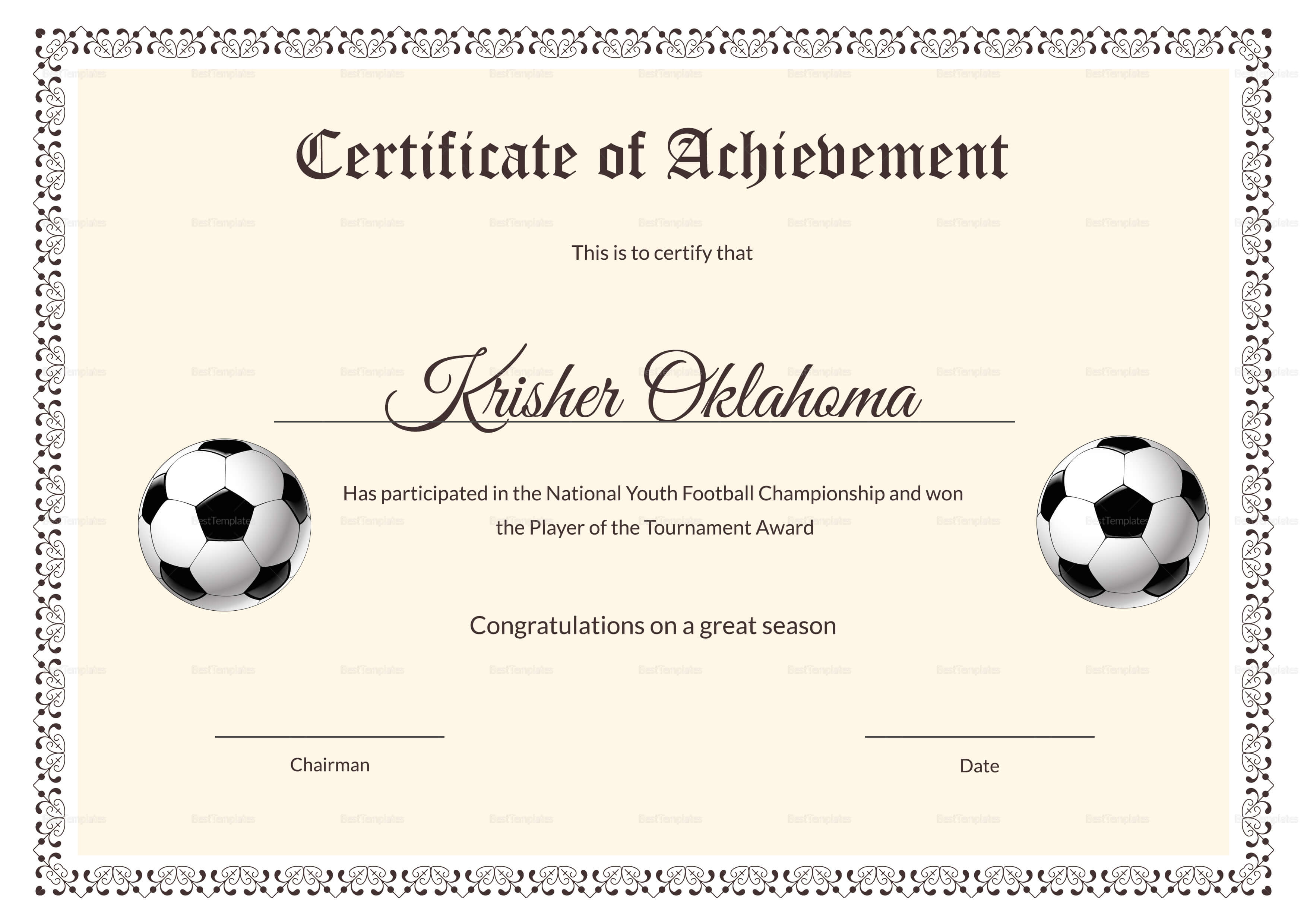 National Youth Football Certificate Design Template In Psd, Word Regarding Football Certificate Template