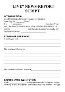 Natural Disaster – Live Newsreport Script Template inside News Report Template