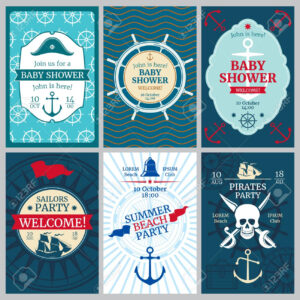 Nautical Baby Shower, Birthday, Beach Party Vector Invitation.. within Nautical Banner Template