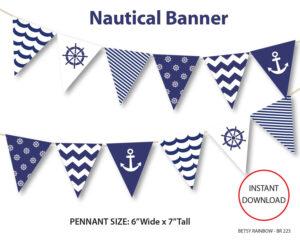 Nautical Banner, Printable Banner, Nautical, Diy Party, Navy regarding Nautical Banner Template