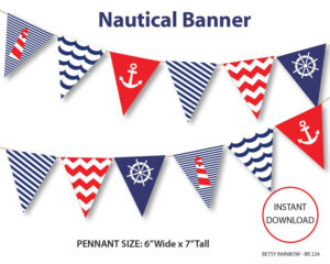 Nautical, Diy Party, Navy Blue Nautical Bunting Pennants within Nautical Banner Template