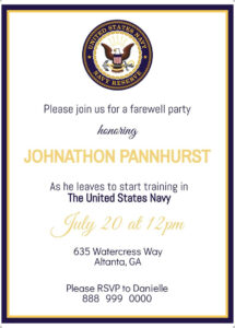 Navy Farewell Party Invitation, Instant Download, Editable Template pertaining to Farewell Certificate Template
