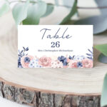 Navy Wedding Place Card, Blush Pink Floral Name Card Inside Free Place Card Templates Download