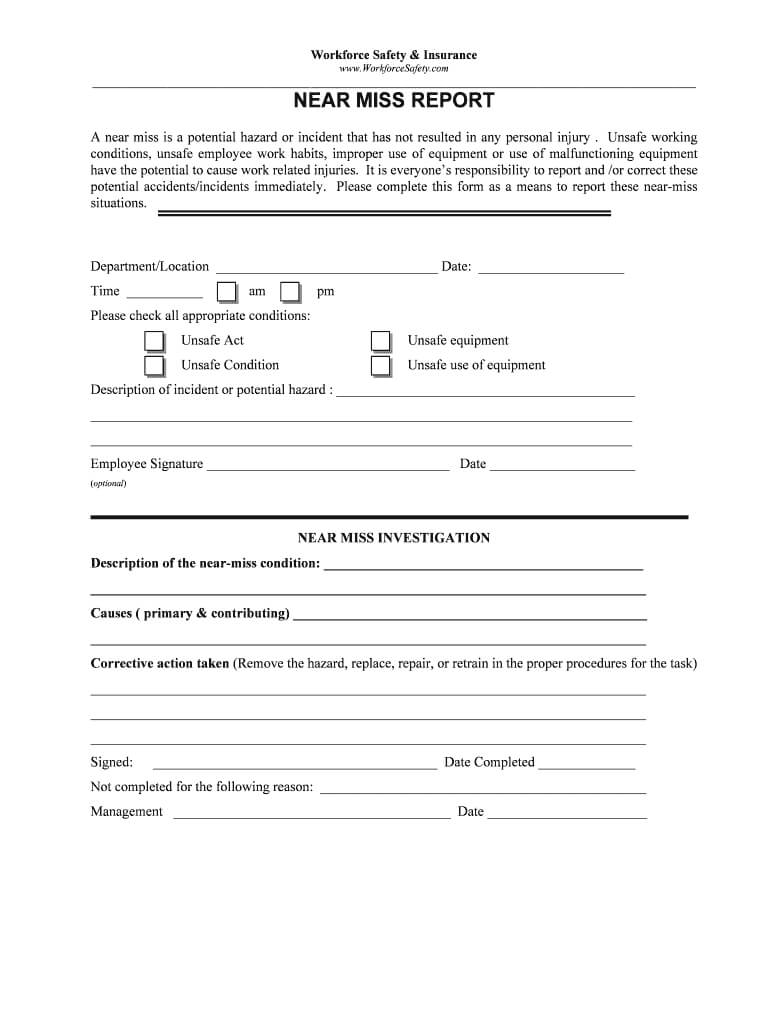Near Miss Reporting Form - Fill Online, Printable, Fillable With Regard To Hazard Incident Report Form Template