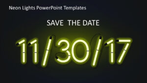 Neon Lights Powerpoint Templates inside Save The Date Powerpoint Template