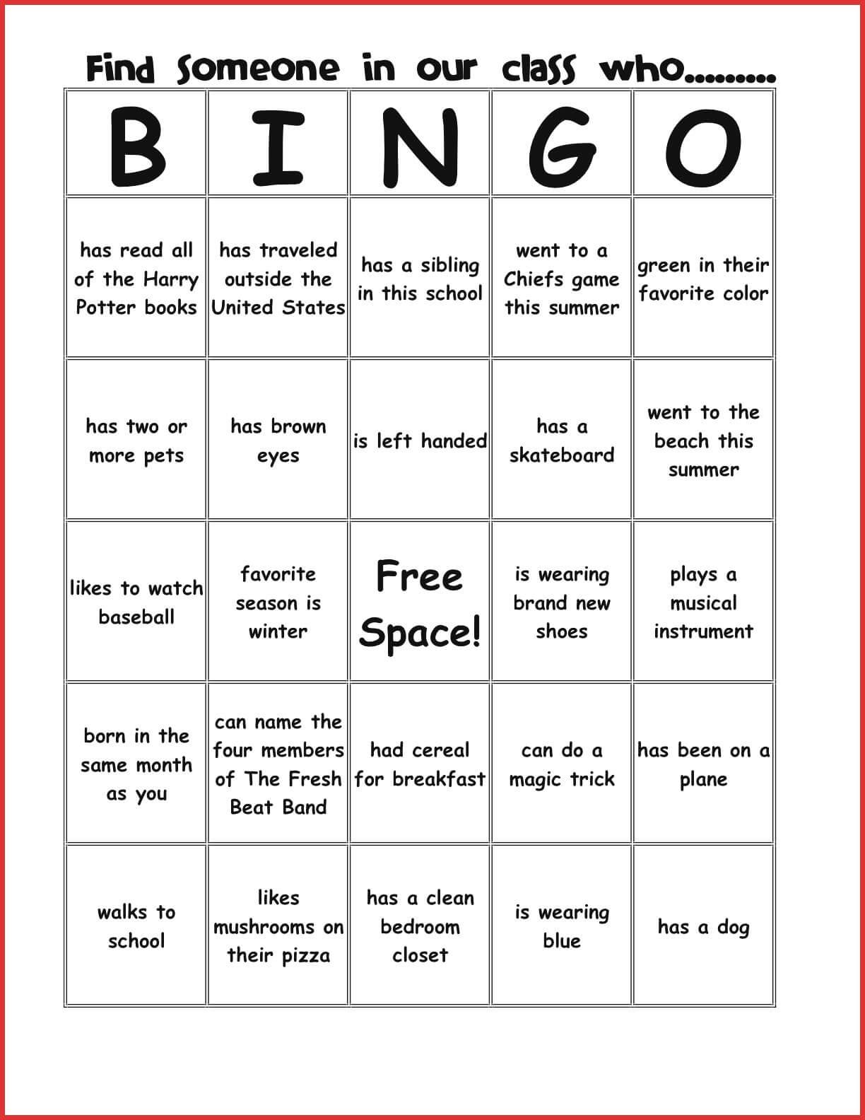 New Bingo Card Template | Leave Latter For Ice Breaker Bingo Card Template