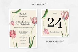 New! Pink Tulips Wedding Collection – Creative Template intended for Table Reservation Card Template