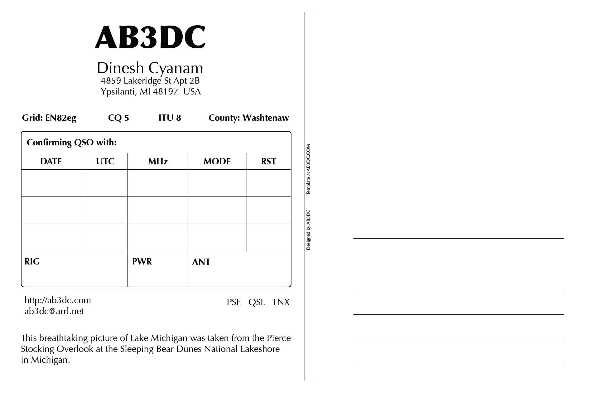 New Qsl Cards Design – Ab3Dc's Ham Radio Blog Inside Qsl Card Template
