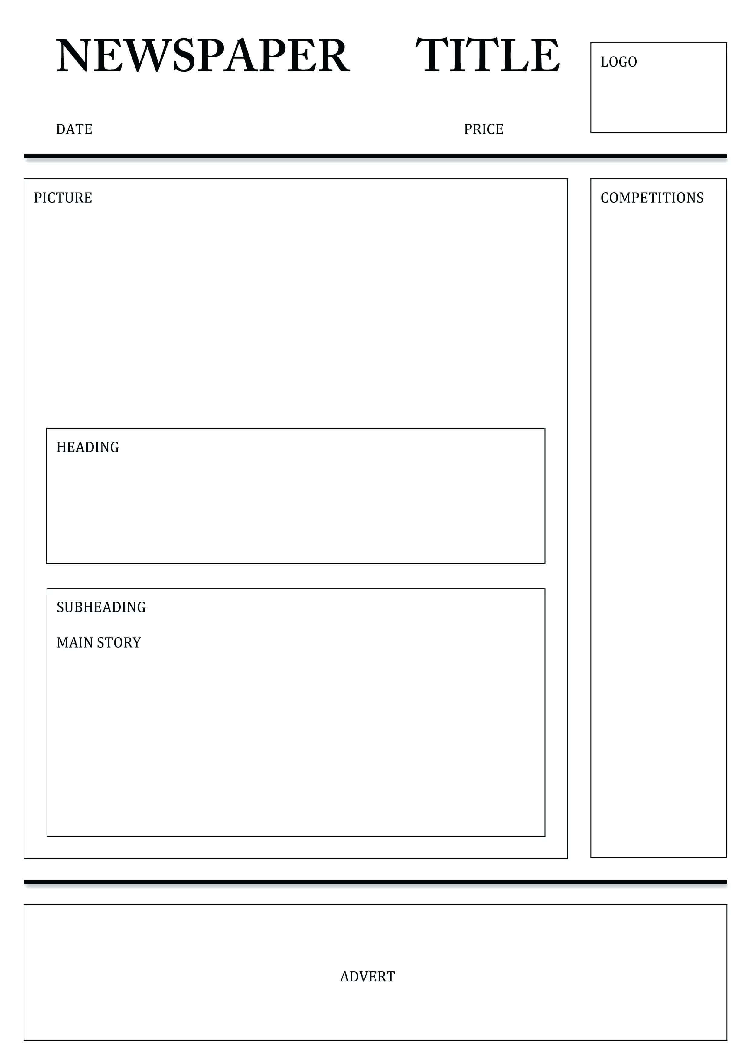Newspaper Template For Word Pdf Excel | Printable Templates With Blank Newspaper Template For Word