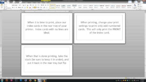 Note/index Cards – Word Template for Cue Card Template