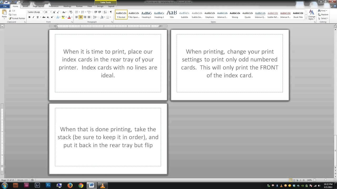 Note/index Cards - Word Template With Flashcard Template Word