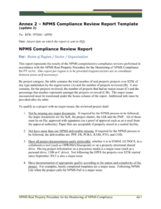 Npms Compliance Review Report Template (Update 2) intended for Compliance Monitoring Report Template