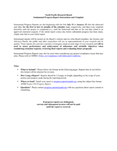 Nprb Progress Report Template – North Pacific Research Board with regard to Research Project Report Template