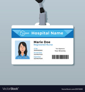 Nurse Id Card Medical Identity Badge Template intended for Hospital Id Card Template