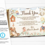 Nursery Rhyme Baby Shower Thank You Card, Mother Goose Thank Pertaining To Template For Baby Shower Thank You Cards
