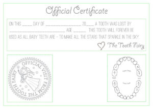 """Official """"tooth Fairy"""" Certificate :) 