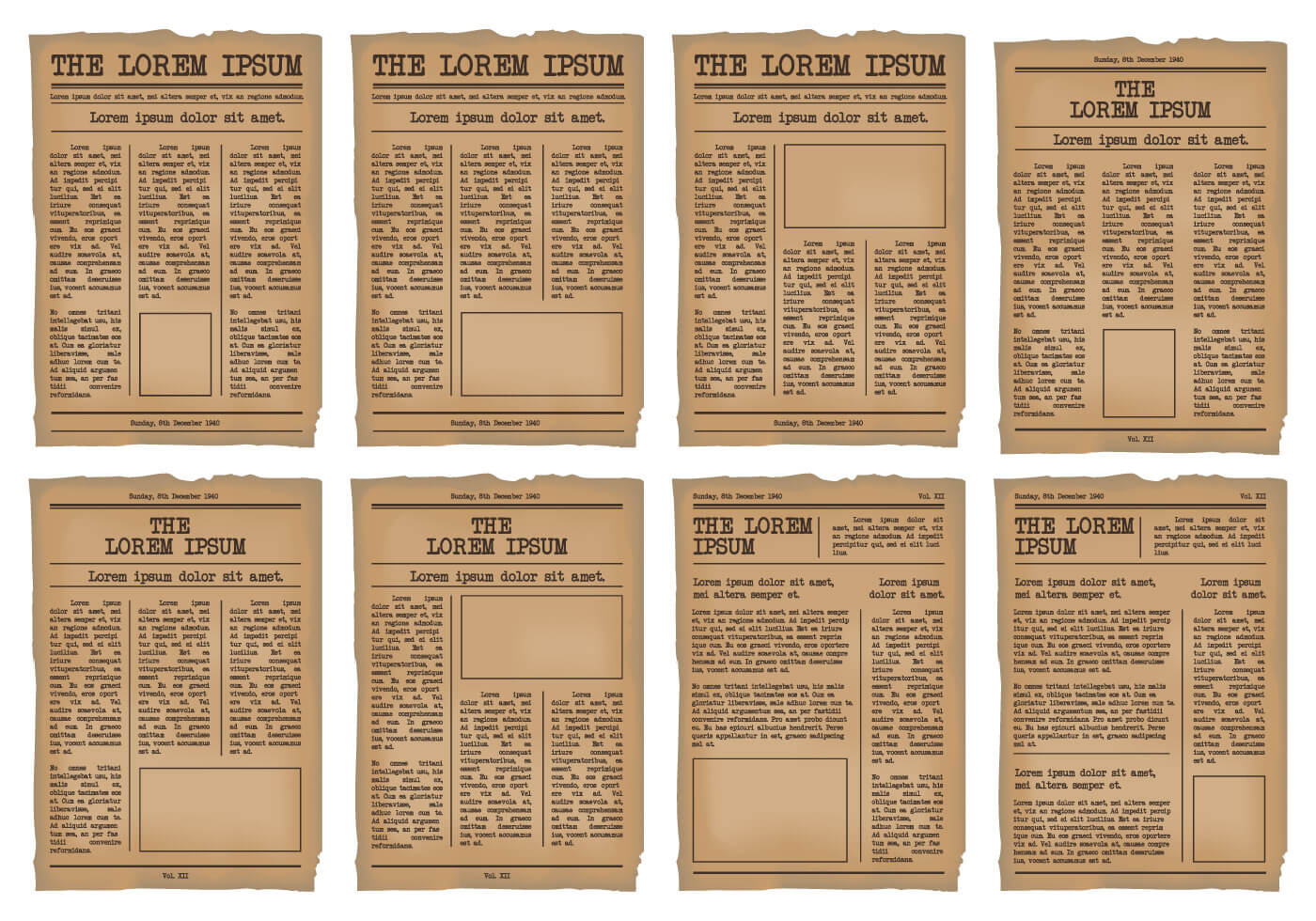 Old Newspaper Template Vector Set - Download Free Vectors Intended For Old Newspaper Template Word Free