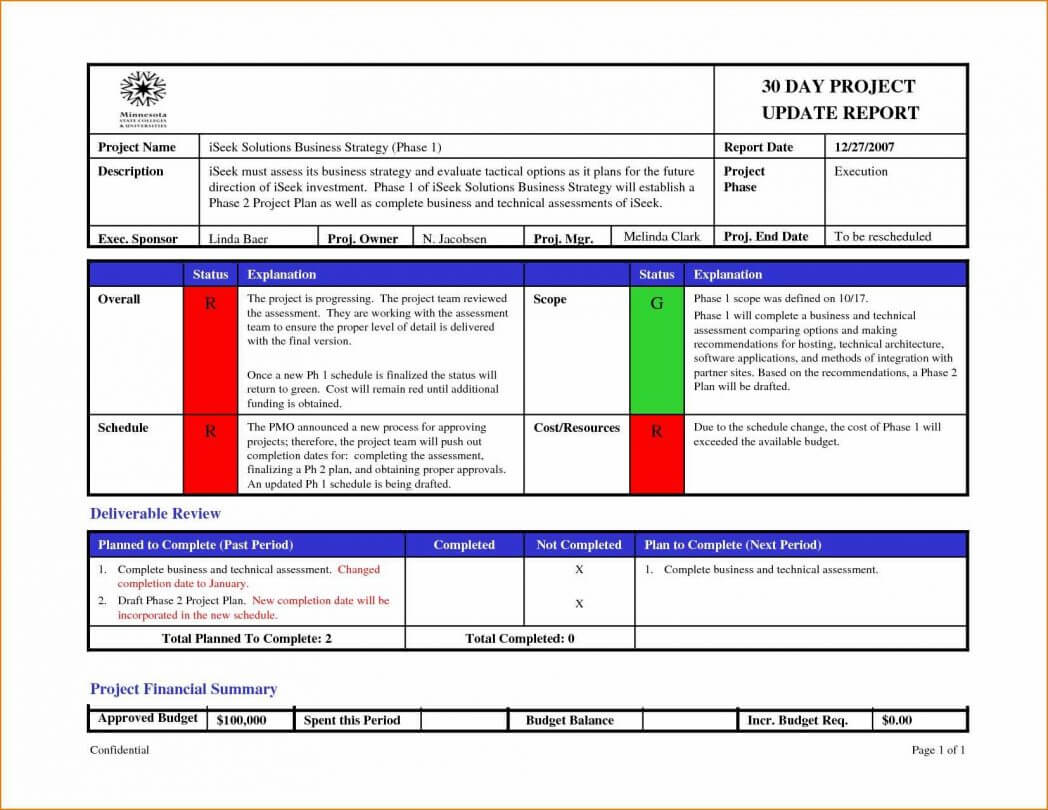 One Page Project Status Report Template Excel With Format Of Regarding One Page Status Report Template