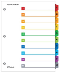 Onestep® Printable Table Of Contents Dividers, 10 Tab, Multicolor intended for Blank Table Of Contents Template