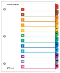 Onestep® Printable Table Of Contents Dividers, 12 Tab, Multicolor regarding Blank Table Of Contents Template
