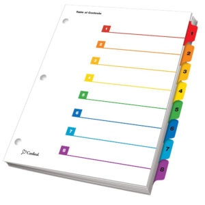 Onestep® Printable Table Of Contents Dividers, 8 Tab, Multicolor within 8 Tab Divider Template Word