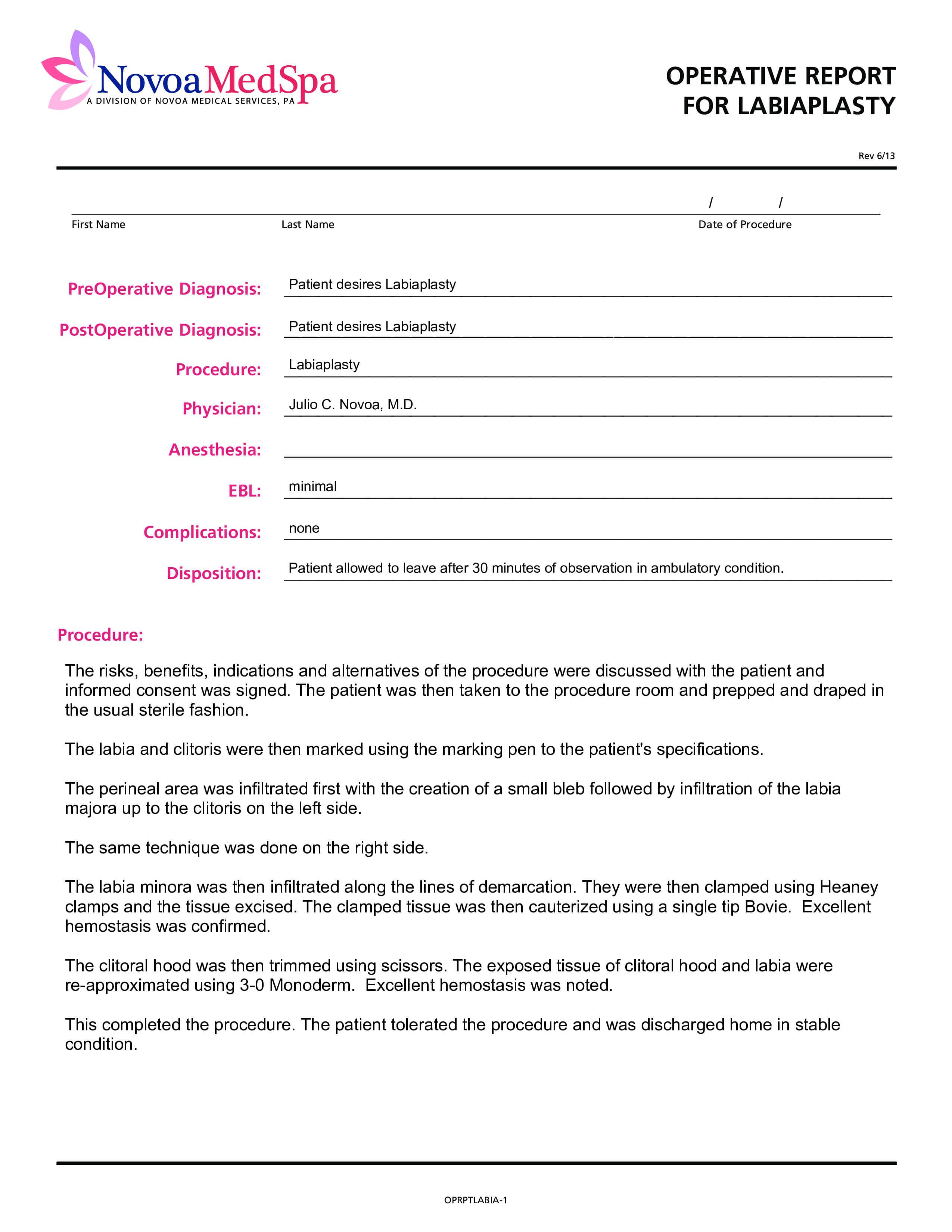 Operative Report   Templates At Allbusinesstemplates Pertaining To Operative Report Template