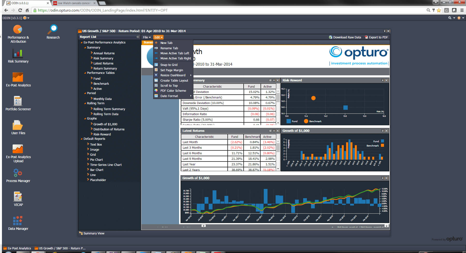 Opturo, Inc. - Performance & Attribution, Risk, Compositing Inside Report Builder Templates