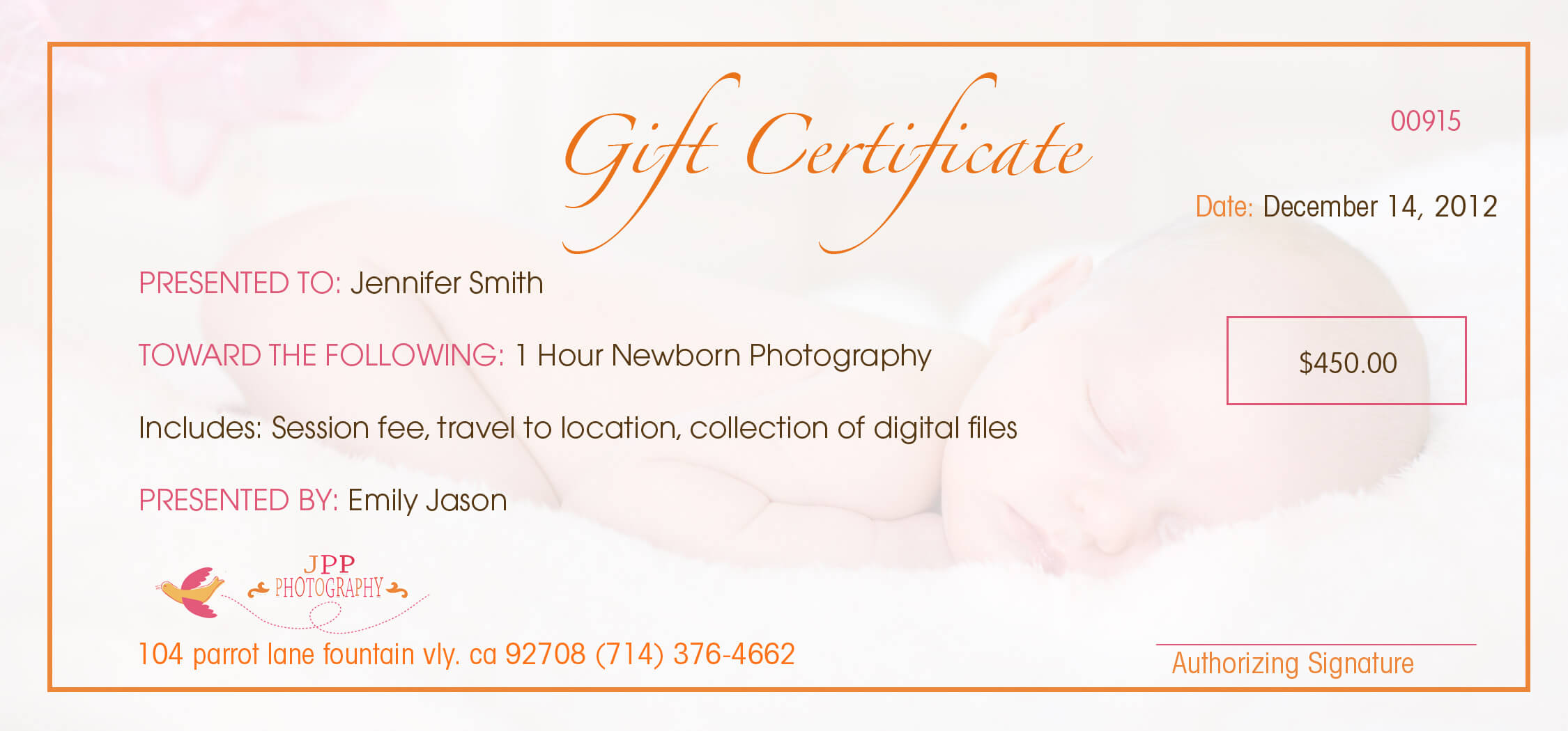 Orange County Christmas Portrait Photography Gift For Photoshoot Gift Certificate Template