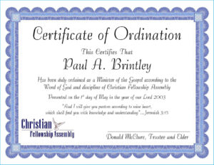 Ordination Certificate Template #7131 for Free Ordination Certificate Template