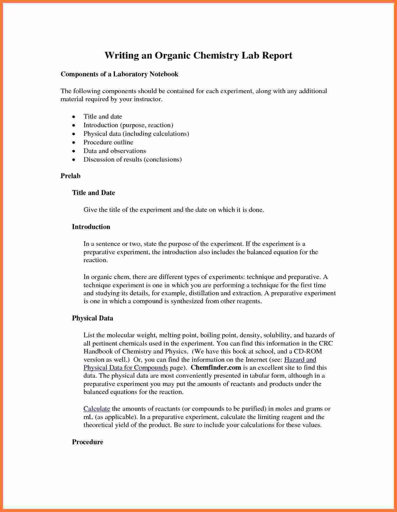 Organic Chemistry Lab Report Example Also Ibmistry Lab Throughout Chemistry Lab Report Template