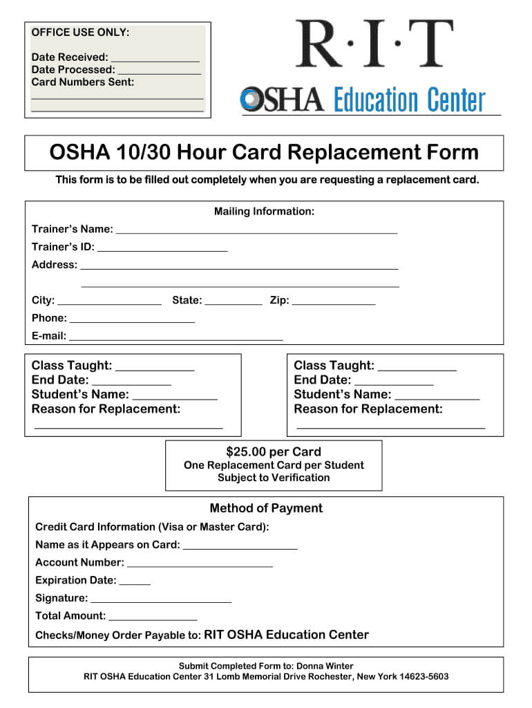 Osha 10 Card Template - Fill Online, Printable, Fillable Intended For Osha 10 Card Template