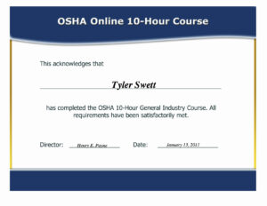 Osha 10 Certificate Template – Hizir.kaptanband.co regarding Osha 10 Card Template