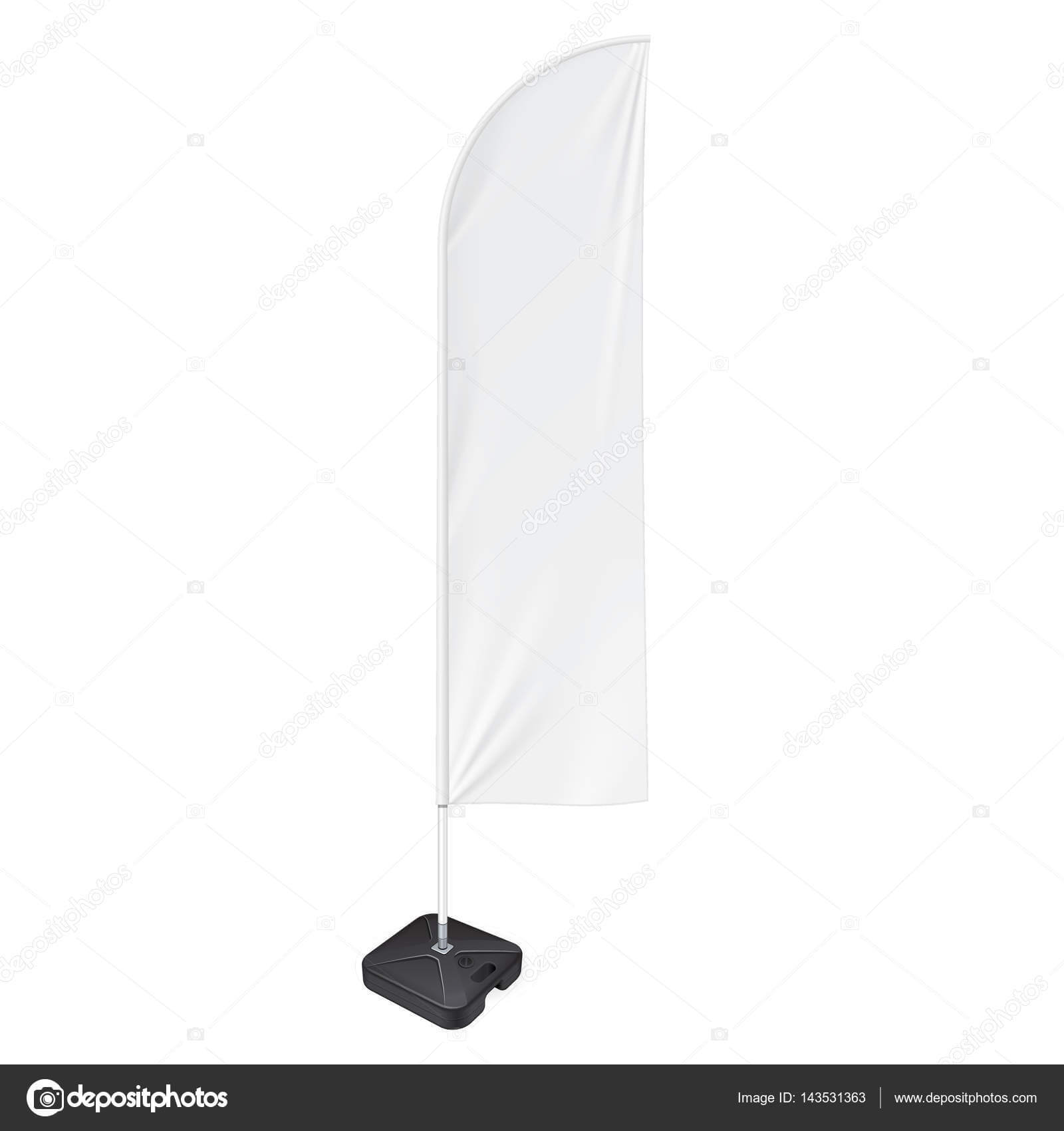 Outdoor Feather Flag With Ground Fillable Water Base Stand With Sharkfin Banner Template