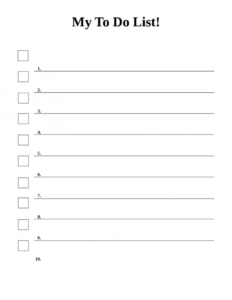 Outstanding Printable Checklist Template Word inside Blank Checklist Template Word