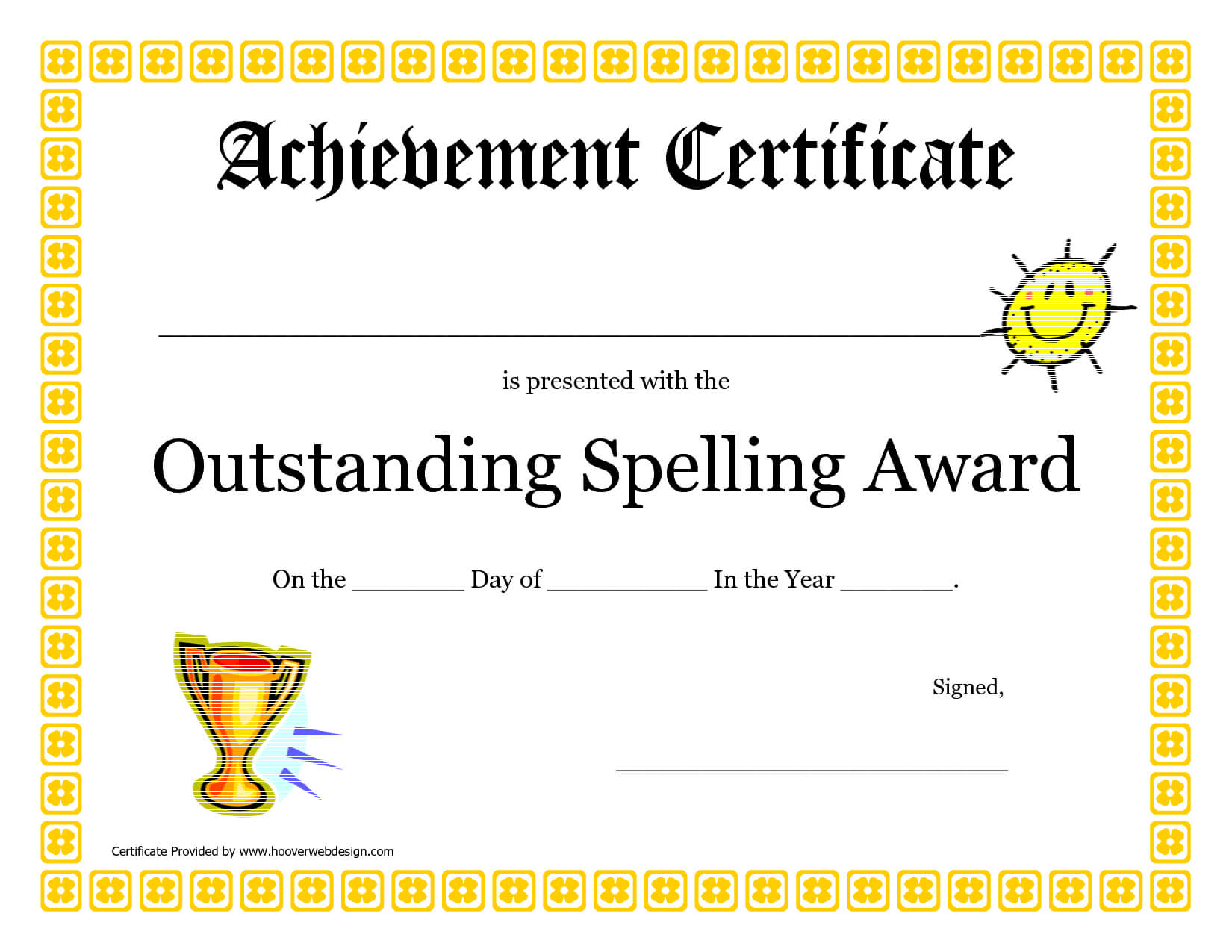 Outstanding Spelling Award Printable Certificate Pdf Picture Within Spelling Bee Award Certificate Template
