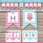 Owl Party Banner Template – Pink Intended For Diy Birthday Banner Template