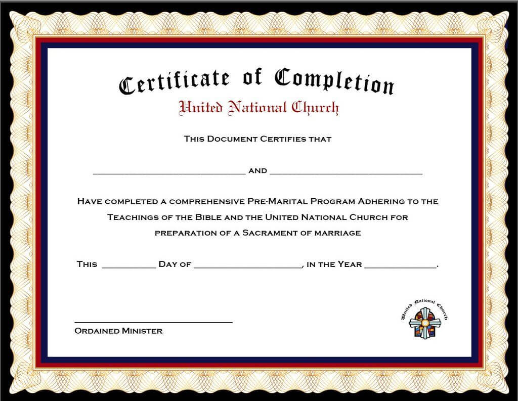 Pack Of 4 Marriage Counseling Completion Certificates For Premarital Counseling Certificate Of Completion Template