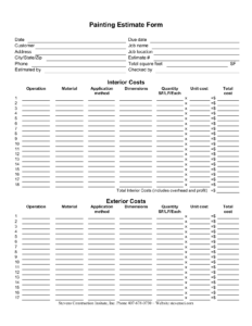 Painting Estimate Forms | Painting Estimate Form regarding Blank Estimate Form Template